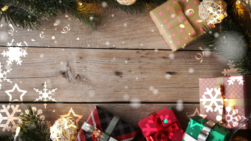 Christmas decoration on wooden table , snowflakes falling and copy space for celebration , new year , thanksgiving concept background | Shutterstock HD Video #1041018788