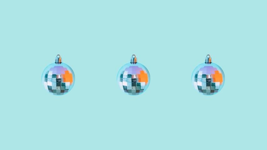 Minimal Motion art. Christmas silver balls dance on blue background.  Seamless effect   Shutterstock HD Video #1041091438