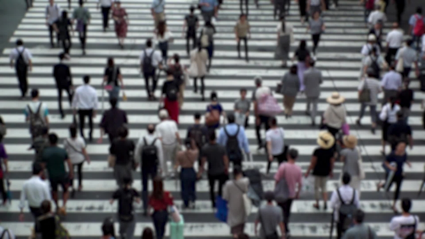 UMEDA, OSAKA, JAPAN - CIRCA SEPTEMBER 2019 : Aerial blurred high angle view of zebra crossing near Osaka train station. Crowd of people at the street. Shot in busy rush hour. Wide slow motion. | Shutterstock HD Video #1041098728