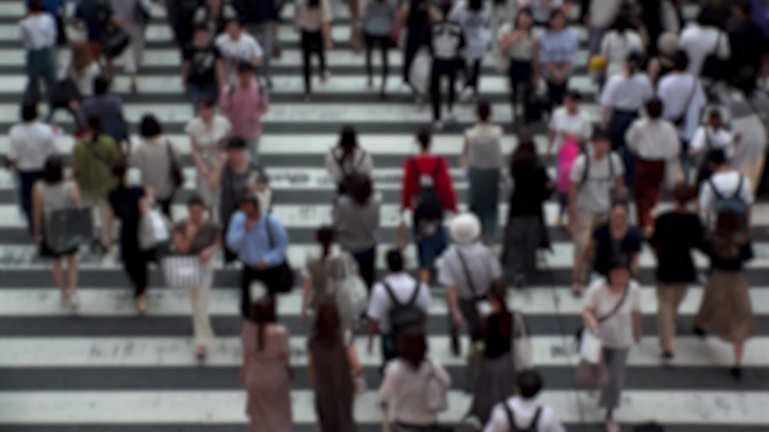 UMEDA, OSAKA, JAPAN - CIRCA SEPTEMBER 2019 : Aerial blurred high angle view of zebra crossing near Osaka train station. Crowd of people at the street. Shot in busy rush hour. Wide slow motion. | Shutterstock HD Video #1041098758