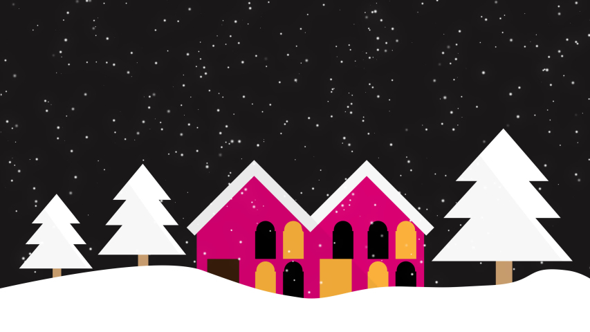 Animated Christmas tree and house with falling snowflakes on a black background and space for text, Christmas atmosphere at night, Christmas background concept | Shutterstock HD Video #1041103378