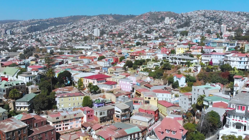 City on the hills, Colorful Houses, cottages (Valparaiso, Chile) aerial view | Shutterstock HD Video #1041121318