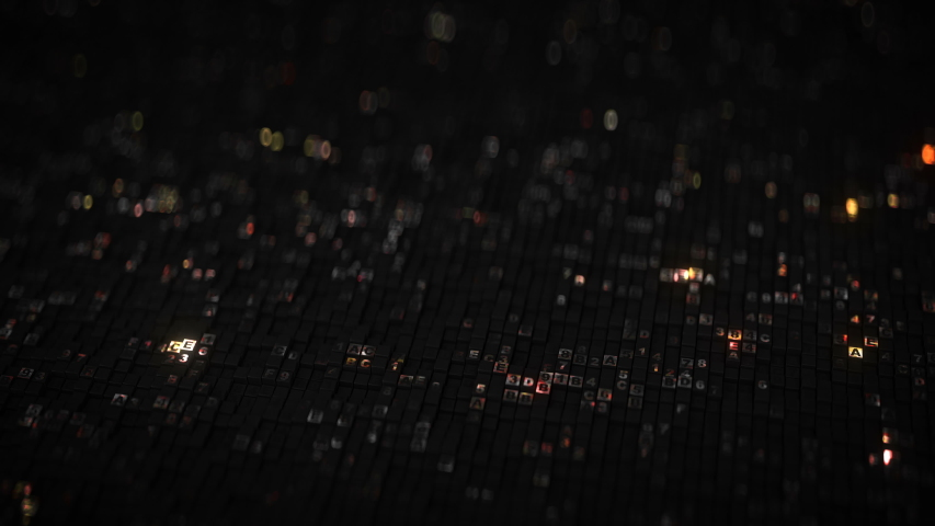 HEX digital data code. Futuristic information technologies or computer science concept. Seamless loop 3D render animation with DOF | Shutterstock HD Video #1041385558