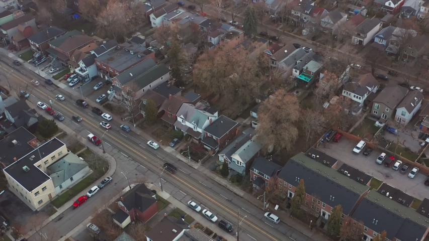 Aerial Establishing Shot of an East End Toronto Neighborhood at Sunset in the Late Fall. Cinematic 4K Footage. | Shutterstock HD Video #1041645988