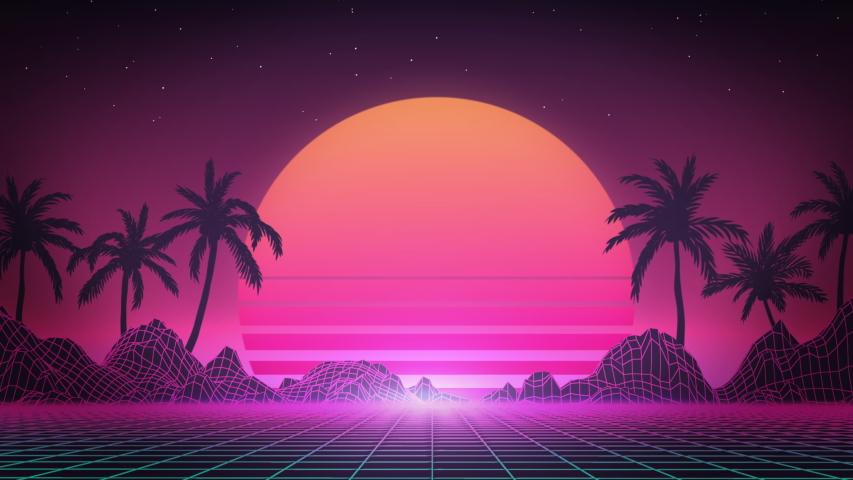 80s Retro Background Vaporwave Art Stock Footage Video 100