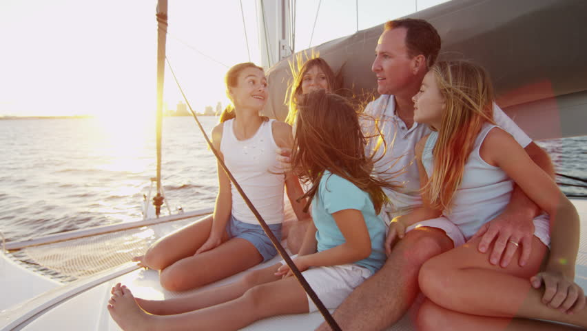 Caucasian Family Group Luxury Lifestyle Yacht Tourism Travel Health Insurance