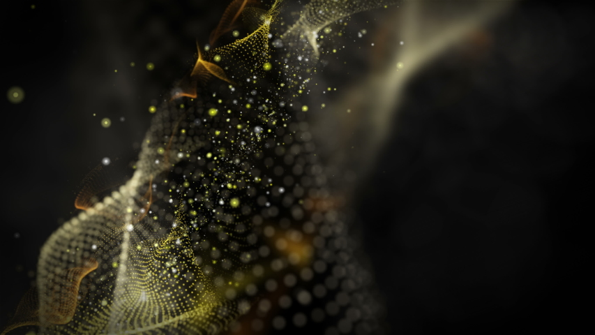 Futuristic video animation with wave object and glitter particles in slow motion, 4096x2304 loop 4K | Shutterstock HD Video #1042190338