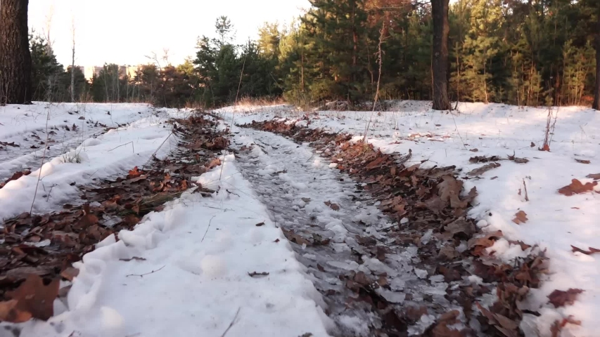 Tracks from the wheels of the car on the ground in the snow | Shutterstock HD Video #1042373278