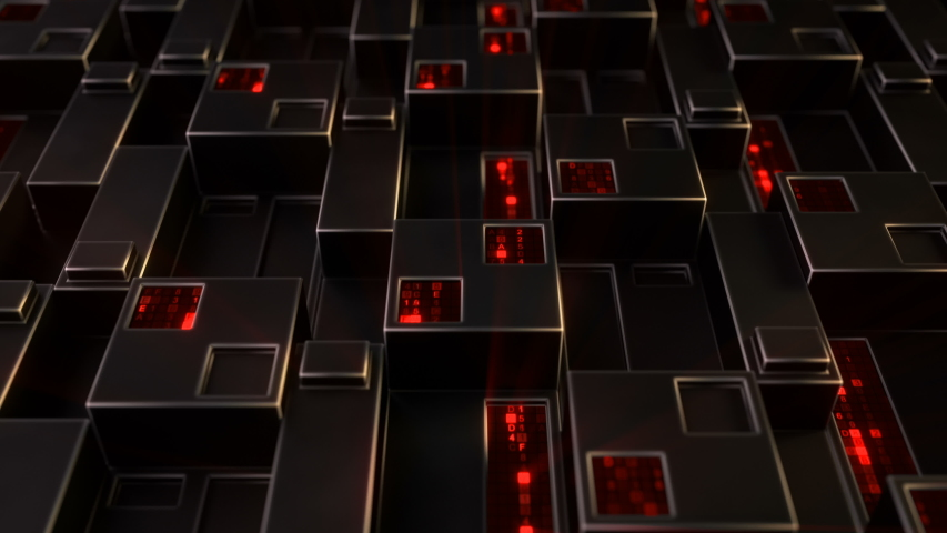 Sci-fi wall panel with glowing red digital data. Futuristic technology concept. Seamless loop 3D render animation 4k UHD 3840x2160 | Shutterstock HD Video #1042470508