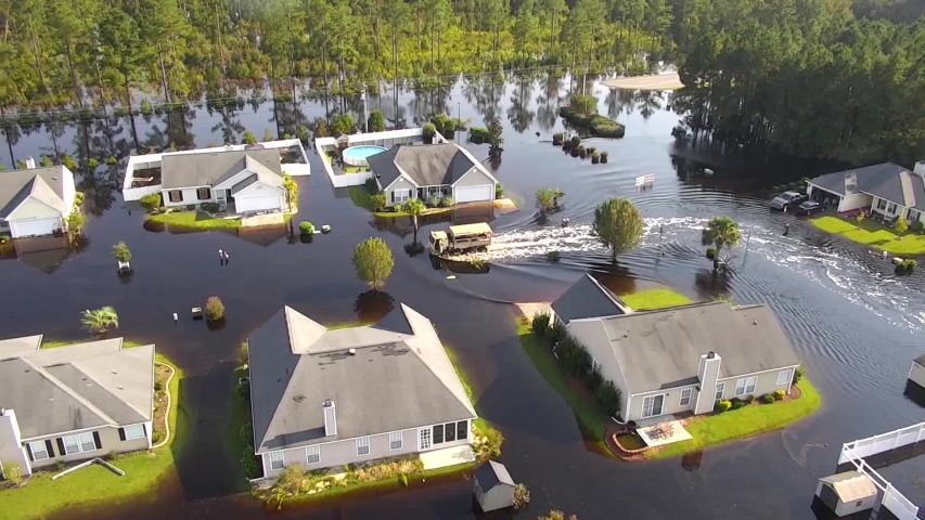 CIRCA 2018 - aerial shot over a flooded neighborhood in South Carolina in the aftermath of Hurricane Florence.