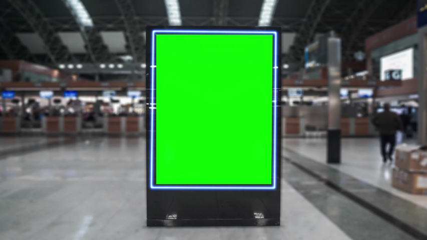 Airport hall billboard mock up with green screen, alpha channel. Business concept, indoor board, empty frame with chroma key.  | Shutterstock HD Video #1042602748