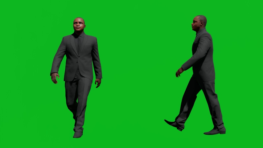 Business african man walking in front view and side view, realistic 3D people rendering isolated on green screen. | Shutterstock HD Video #1042602928