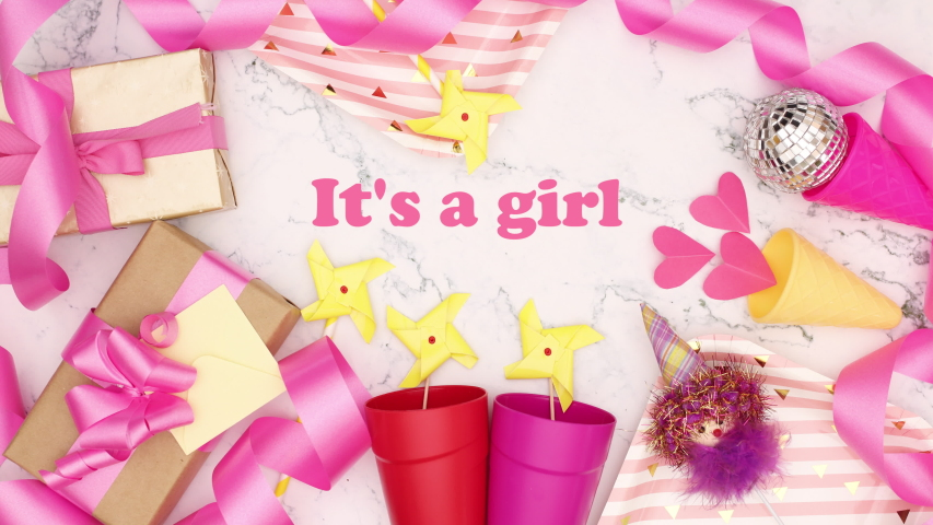 It's a girl title appear with pink decorations for girls on white background - Stop motion  | Shutterstock HD Video #1042647538