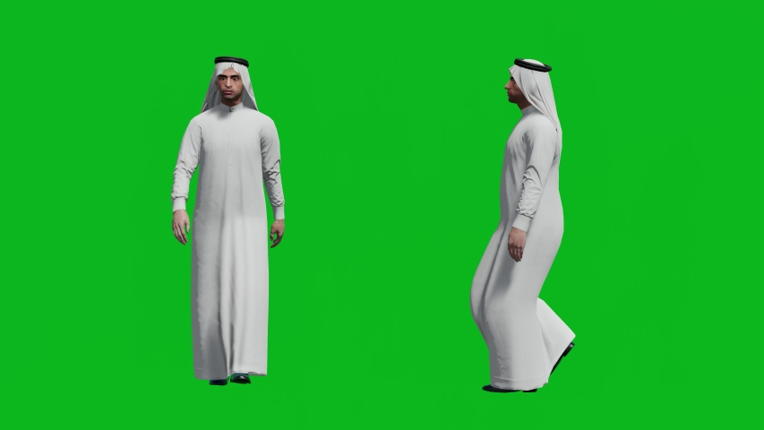 Arabic man walking in front view and side view, realistic 3D people rendering isolated on green screen. | Shutterstock HD Video #1042740598