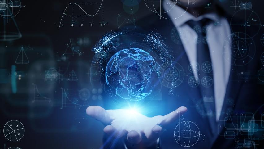 Science technology concept. Communication network.   Shutterstock HD Video #1042773268