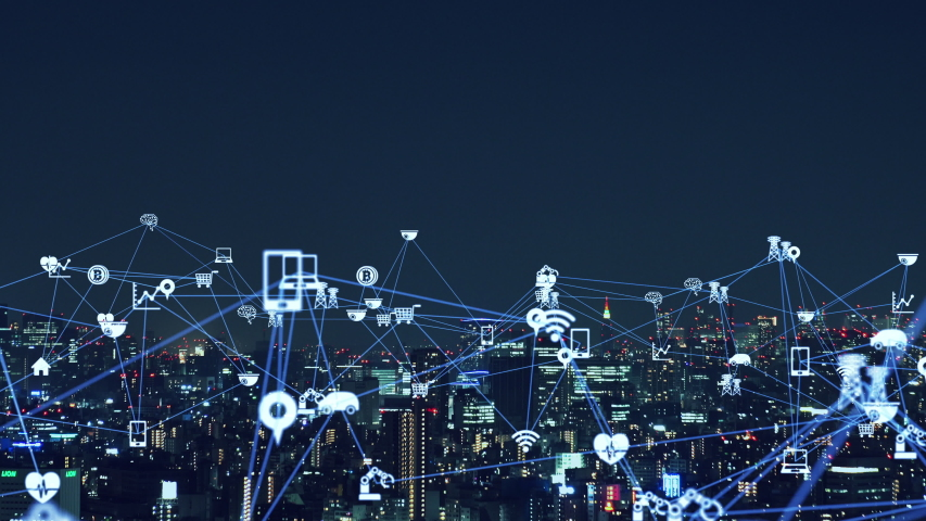 IoT (Internet of Things) concept. Communication network.   Shutterstock HD Video #1042778758