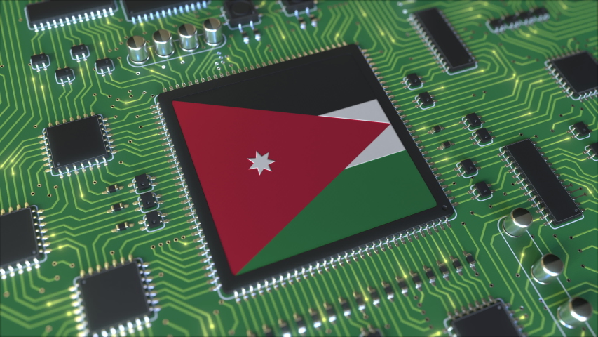 National flag of Jordan on the operating chipset. Jordanian information technology or hardware development related conceptual 3D animation | Shutterstock HD Video #1042782418