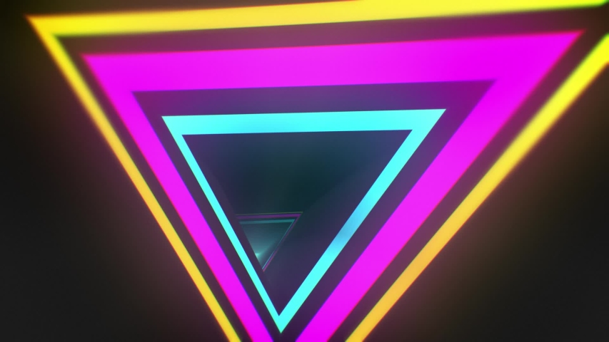 Glossy Looped Abstract Background. 3d triangle corridor. Technological tunnel with pink and cyan neon lights | Shutterstock HD Video #1042788628
