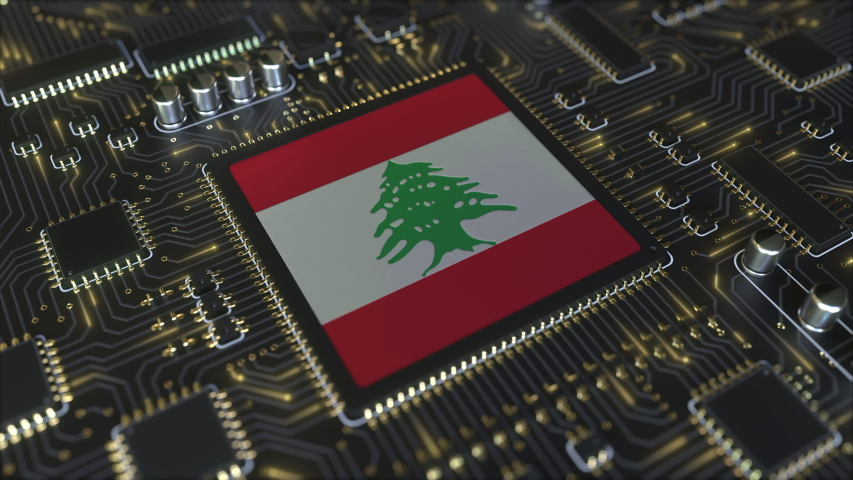 National flag of Lebanon on the operating chipset. Lebanese information technology or hardware development related conceptual 3D animation | Shutterstock HD Video #1042800748