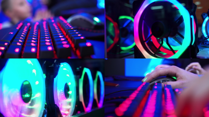 Gamer playing a computer game. Split screen. Programmer. Online shopping. Cyber monday. Hands on the keyboard. Keyboard with neon light. Esports. Championship in computer games. Computer parts.   Shutterstock HD Video #1042829788