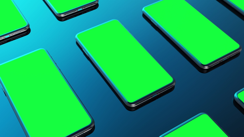 Many phone green screen put on blue background rotation camera with luma white and black key 3D rendering | Shutterstock HD Video #1043235748