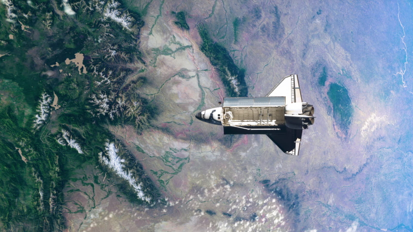 Daytime face during the rotation movement of planet Earth with a space shuttle flying over the atmosphere. | Shutterstock HD Video #1044262048