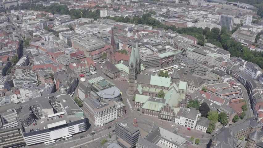 D-Log. Bremen, Germany. The historic part of Bremen, the old town. Bremen Cathedral ( St. Petri Dom Bremen ). View in flight, Aerial View, Point of interest