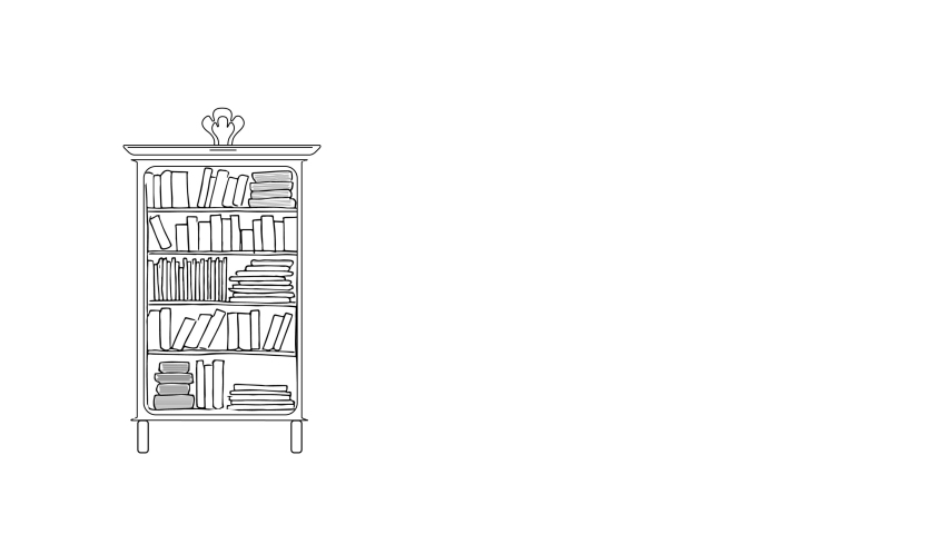 Self drawing sketch animation of bookcase. Library, reading concept. Line art, doodle, copy space, White background.   Shutterstock HD Video #1044851638