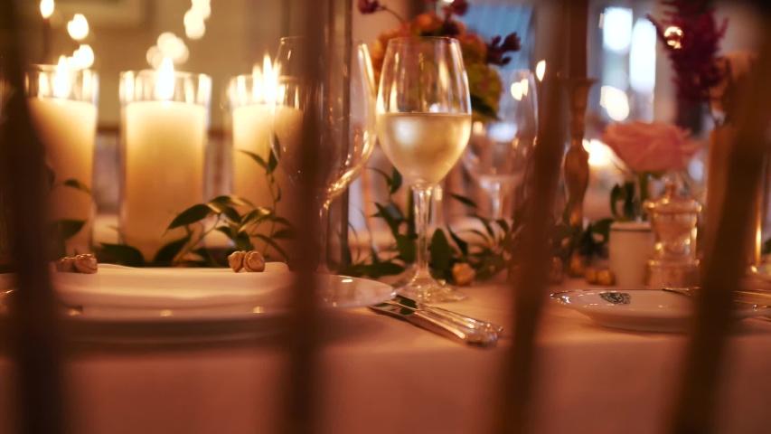 Beautiful Vintage Candle Light Wedding Reception Details    Shutterstock HD Video #1044971308
