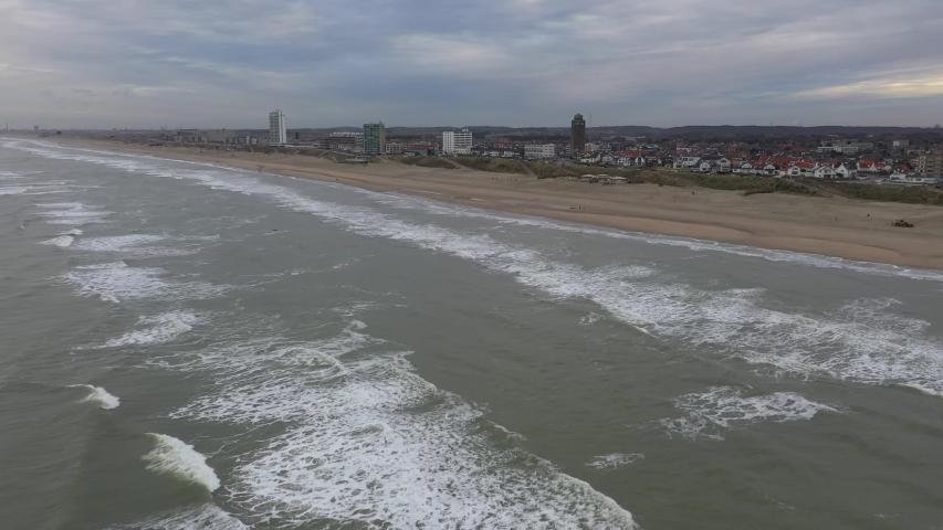 Zandvoort aerial footage of Dutch beach holiday destination | Shutterstock HD Video #1045044268