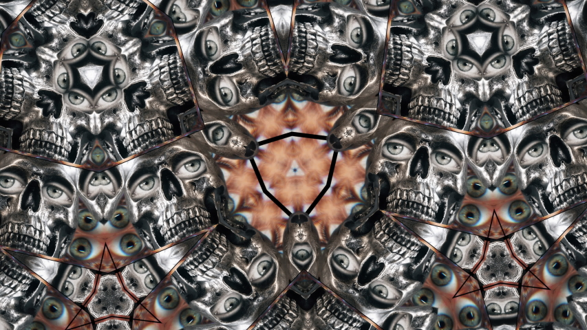Funny Skull Big Eyes Kaleidoscope Seamless Loop. Kaleidoscope of some skulls with eyes forming a psychedelic background. Loop Ready | Shutterstock HD Video #1045108198