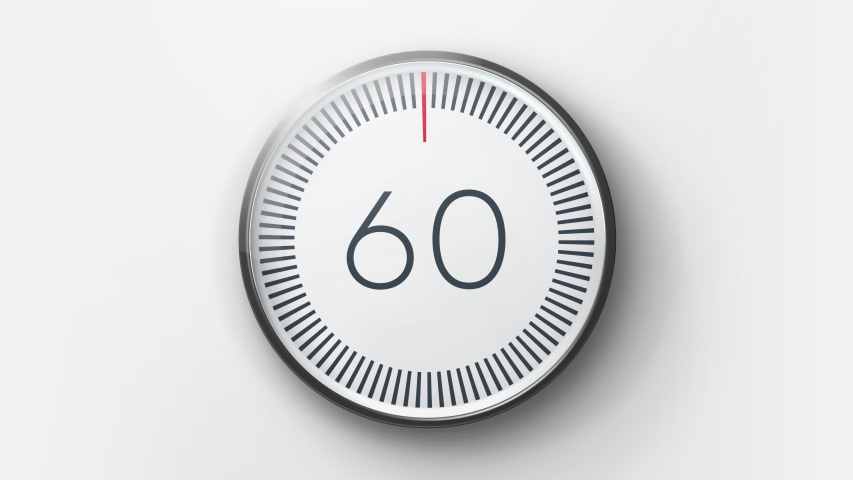 Realistic minimal countdown timer 60s animation from 60 to 0 seconds. Modern flat design with animation on white background. High quality 4K video.   Shutterstock HD Video #1045223878