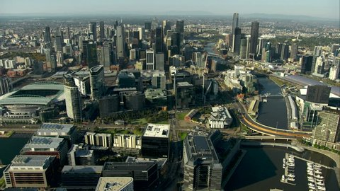 An aerial shot of Melbourne City, along the Yarra River from Docklands towards the Southbank precinct.