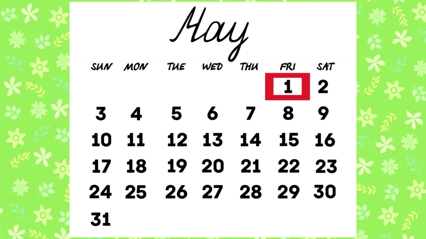 Calendar for may.the days of the month change in turn.animated video. | Shutterstock HD Video #1045816558