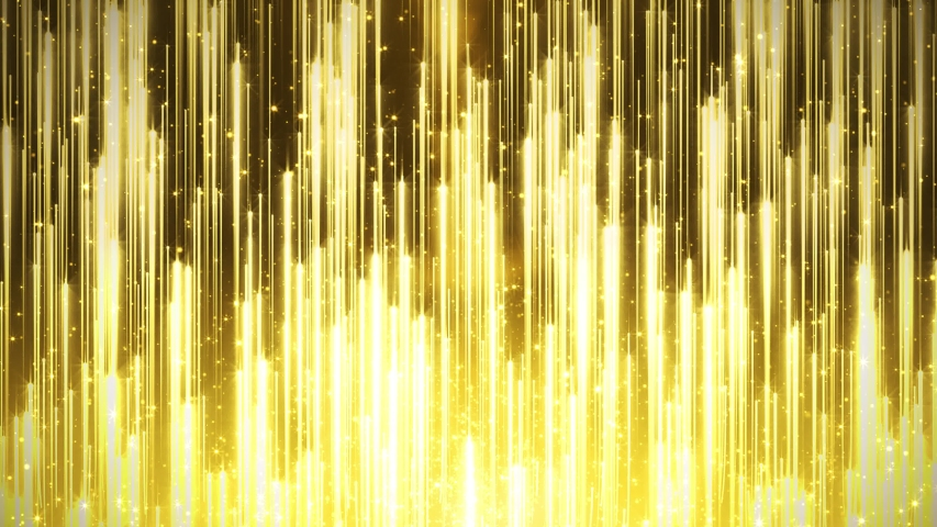 Golden particle light rising, golden luxury particle stripe background. Oscar awards gala show background video.Creative texture with shiny particles falling down. Winner screan abstract background. P | Shutterstock HD Video #1045866508