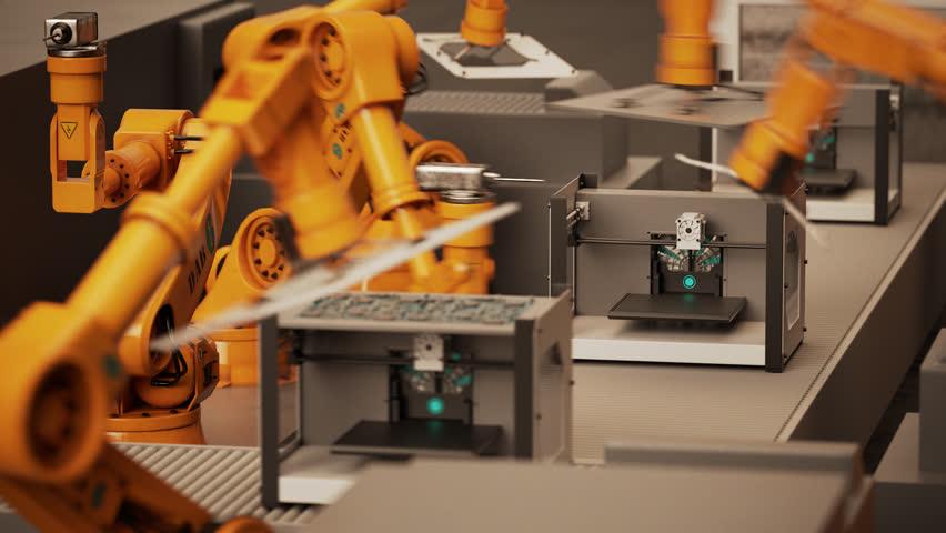 02287 Robotic Arm Assembling 3d Printer On Conveyor Belt