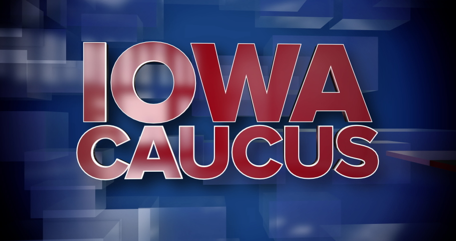 A red and blue dynamic 3D Iowa Caucus title page animation.   | Shutterstock HD Video #1045971808
