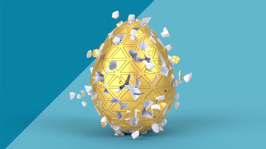 Happy Easter holiday background. Colorful eggs 3d render animation in minimal style. Shattered decorative egg, explosion effect. | Shutterstock HD Video #1046656258