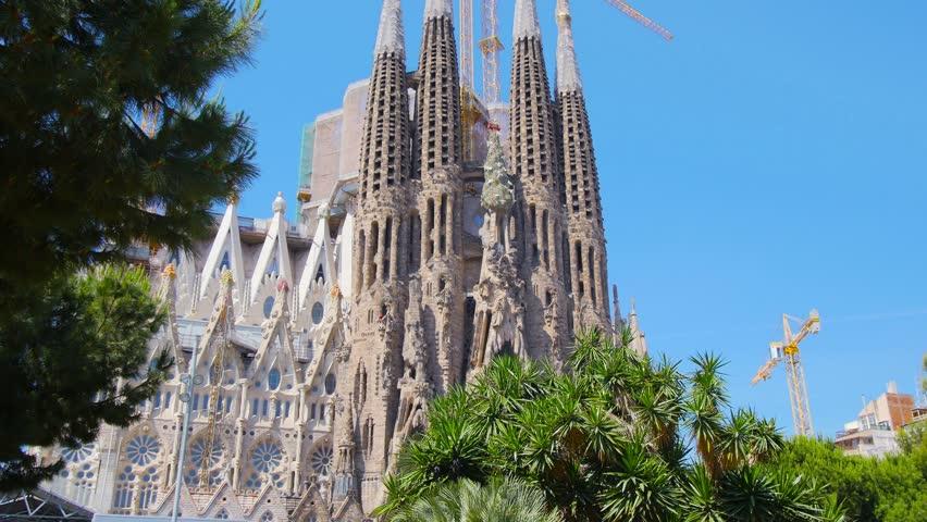 BARCELONA, SPAIN, CIRCA MAY 2015: Barcelona, basilica Sagrada Familia view, project of famous architect Antonio Gaudi, steadicam.