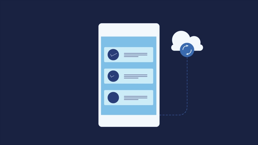 Mobile cloud sync, Syncing data with cloud storage, Mobile sync cloud - conceptual animated video clip   Shutterstock HD Video #1046834488