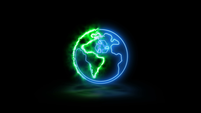 Animation of an earth map on black background with symbol of recycling. Screen mode. | Shutterstock HD Video #1046841598
