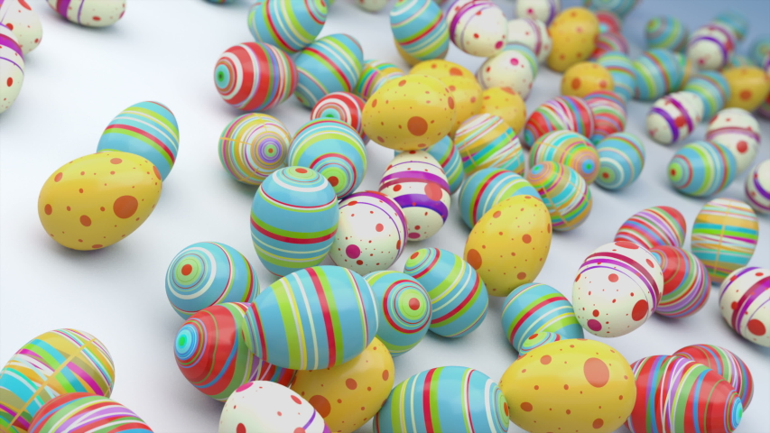 Easter eggs on gradient background. Colorful Easter eggs fall in to the frame, you can put their your inscription or logo. High quality animation. Look to my profile to find another easter video. | Shutterstock HD Video #1046923618