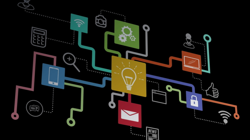 Animation of network of connections cloud computing with lightbulb, on line security, message, wifi icons on black background. Global network of connections and communication cloud computing concept | Shutterstock HD Video #1046978998