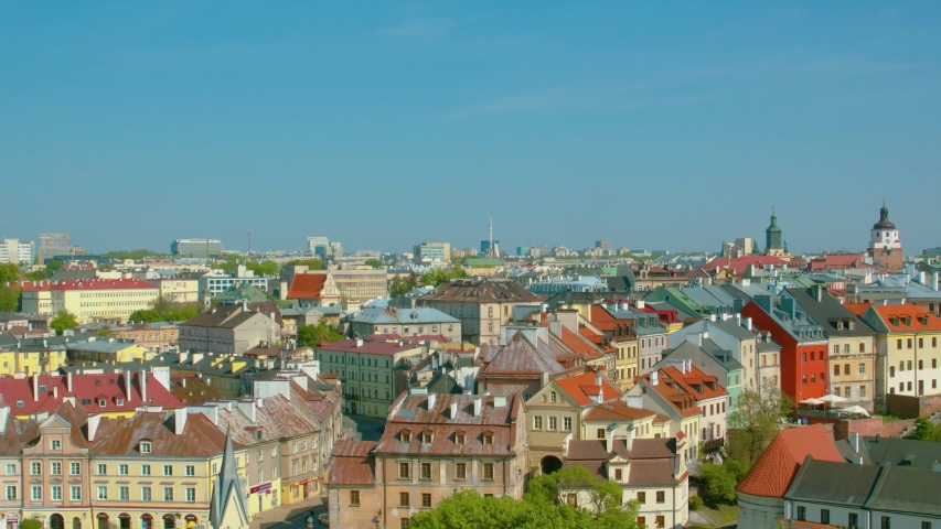 Summer panorama of city of Lublin in Poland, Europe - high quality stock footage   Shutterstock HD Video #1047154918