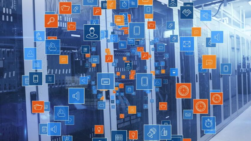 Animation of global network of digital icons, data processing and digital information flowing through network of computer servers in a server room. Global network of internet service provider or data | Shutterstock HD Video #1047231238
