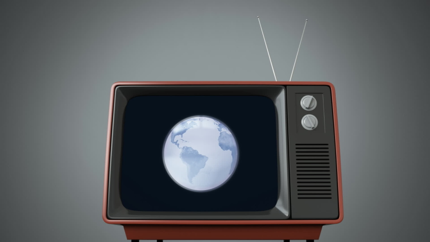 Animation of the news screen with blue and white digital globe rotating displayed on vintage television set on grey background. Global technology media and information network concept digitally | Shutterstock HD Video #1047240088