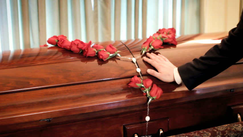 Coffin, casket at funeral service