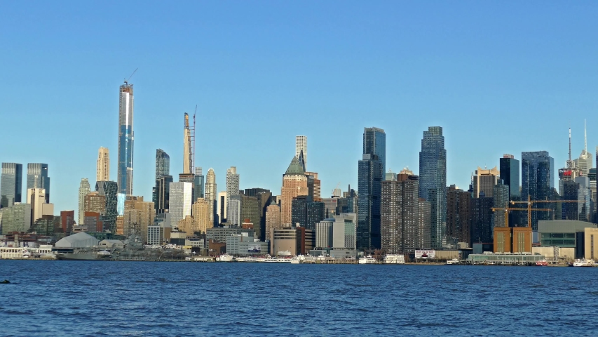 Midtown Manhattan skyline with the Hudson river | Shutterstock HD Video #1048884898