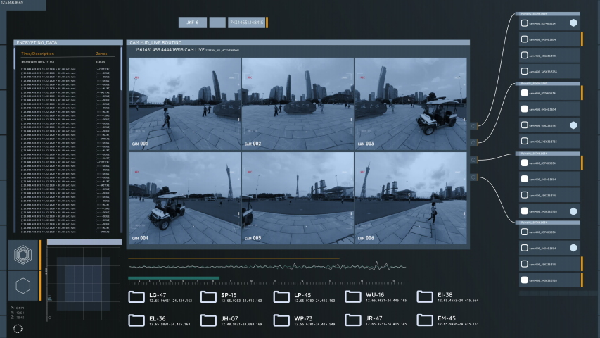 China, Surveillance Camera Multi Screen. Advanced Spy Technology | Shutterstock HD Video #1049154598