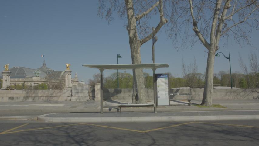 Bus stop Abribus Vide Paris Coronavirus Confinement | Shutterstock HD Video #1049307298